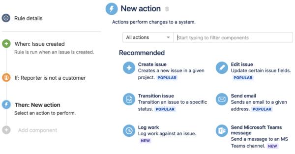 تعریف action در Automation for Jira