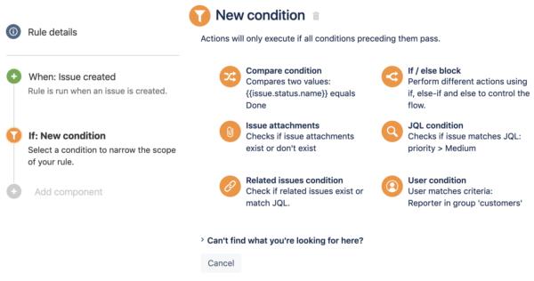 شرط یا condition در rule Automation for Jira