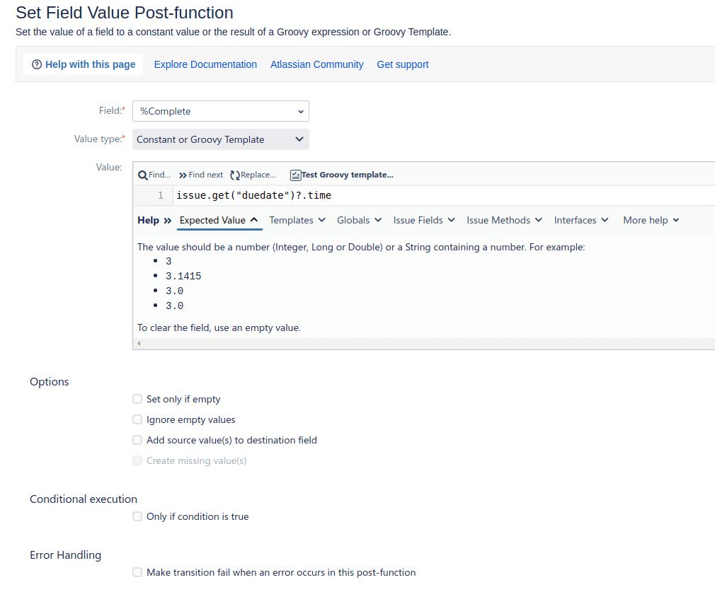 مقداردهی به یک فیلد در post-function جیرا