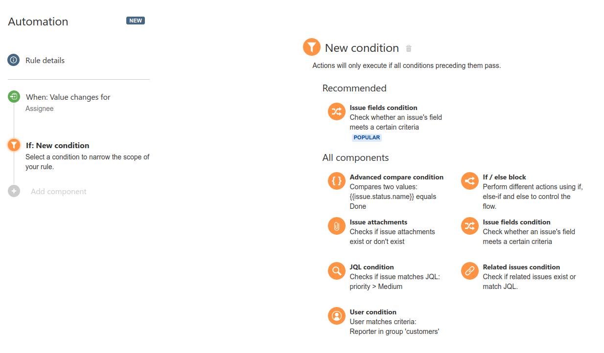 condition در افزونه automation for jira