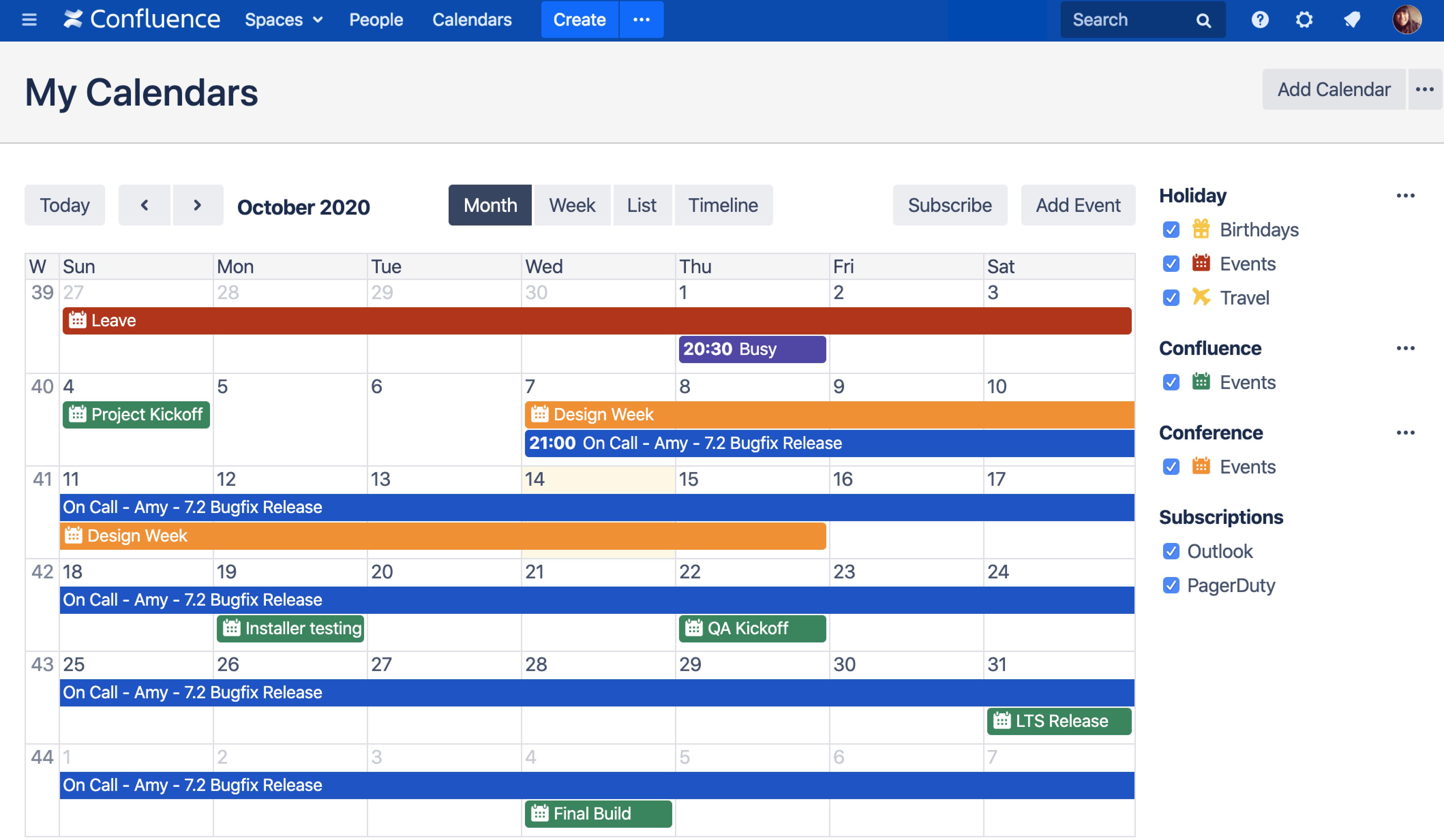 calendar for confluence
