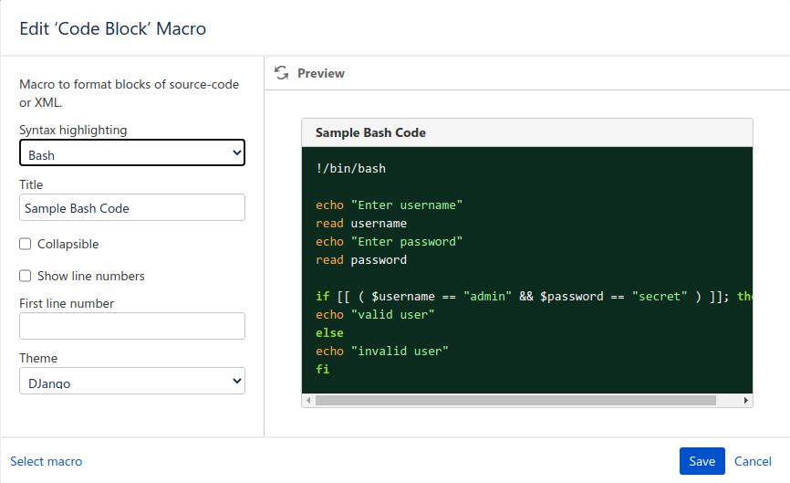 code block macro in confluence